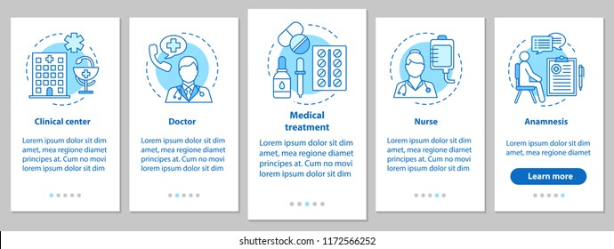Medicine and healthcare onboarding mobile app page screen with linear concepts. Doctor, nurse, clinic, treatment, anamnesis. Medical service steps graphic instructions. UX, UI, GUI vector illustration