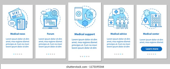 Medicine and healthcare onboarding mobile app page screen with linear concepts. Medical news, forum, advice, clinic, support steps graphic instructions. UX, UI, GUI vector template with illustrations