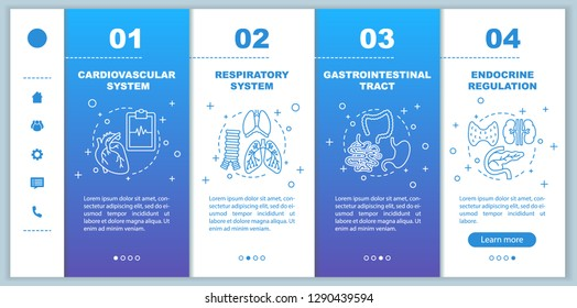 Medicine and healthcare onboarding mobile app page screen vector template. Cardiovascular, respiratory system walkthrough steps with linear illustrations. UX, UI, GUI smartphone interface concept