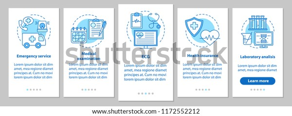 Medicine and healthcare onboarding mobile app page screen with linear concepts. Ambulance, examination, ECG, health insurance, lab analysis steps graphic instructions. UX, UI, GUI vector illustrations