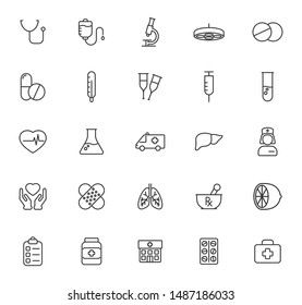 medicine and healthcare outline vector icons large set isolated on white background. seasonal medical pharmacy comcept. healthcare flat icons for web, mobile and ui design.