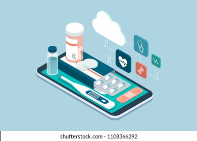 Medicine, healthcare and therapy app: prescription drugs, first aid and medical diagnosis equipment on a smartphone with icons