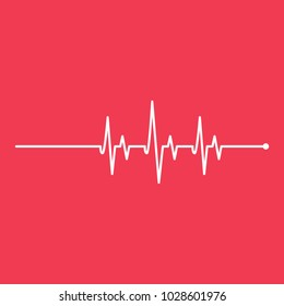 Medicine Heartbeat Red Bacground Flat Lines Cardiogram Modern