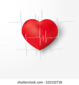 Medicine. Heartbeat.Echocardiography.Cardiological examination.Form a red heart and heartbeat on a white background