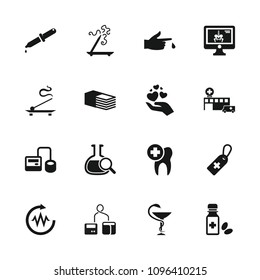 Medicine icon. collection of 16 medicine filled icons such as aroma stick, blod pressure tool, medical cross tag, bandage. editable medicine icons for web and mobile.