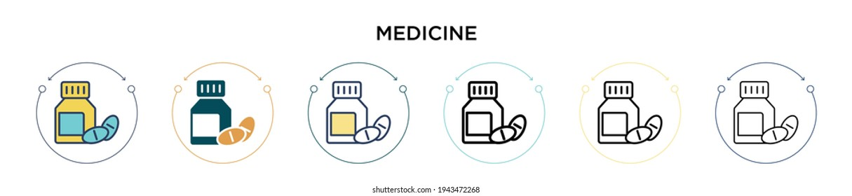 Medicine icon in filled, thin line, outline and stroke style. Vector illustration of two colored and black medicine vector icons designs can be used for mobile, ui, web