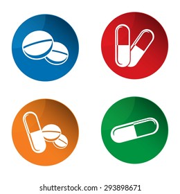 Medicine icon. Pills icon. Capsules icon. Pharmacy icon. Vector