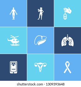 Medicine icon set and human body with hiv ribbon, uterus and lung. Person related medicine icon vector for web UI logo design.