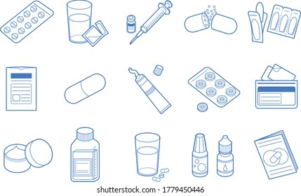 Medicine icon set such as oral medicine and injection