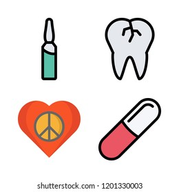 medicine icon set. vector set about broken tooth, ampoul, heart and pills icons set.