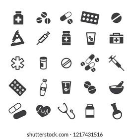Medicine Icons. Black Flat Design. Vector Illustration.