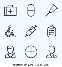 Medicine icons line style set with medic, injection, handicapped man medic  elements. Isolated vector illustration medicine icons.
