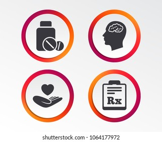 Medicine icons. Medical tablets bottle, head with brain, prescription Rx signs. Pharmacy or medicine symbol. Hand holds heart. Infographic design buttons. Circle templates. Vector