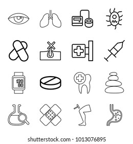 Medicine icons. set of 16 editable outline medicine icons such as no hair in skin, pill, medical cross, blod pressure tool, injection, virus and pills, spa stones, stomach