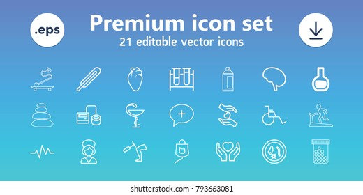 Medicine icons. set of 21 editable outline medicine icons includes test tube, blod pressure tool, themometer, heart organ, microorganism, hands holding heart, drop counter