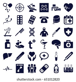 Medicine icons set. set of 36 medicine filled icons such as thermometer, aroma stick, toothbrush, pipette, themometer, pill, medical bottle, bandage, liver, brain