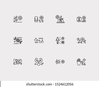 Medicine icons set. Andrology and medicine icons with rehabilitation medicine, hematology and infectious diseases. Set of organism for web app logo UI design.