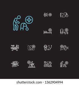 Medicine icons set. Angiology and medicine icons with gynaecology, anesthesiology and intensive care medicine. Set of person for web app logo UI design.