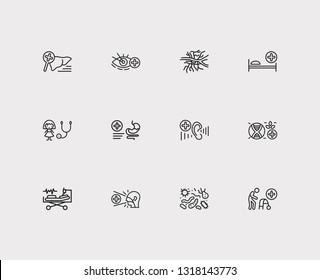 Medicine icons set. Angiology and medicine icons with intensive care medicine, biomedicine and gastroenterology. Set of organism for web app logo UI design.