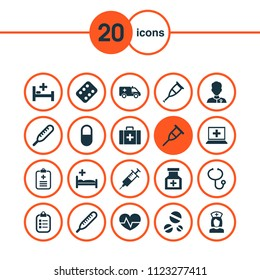 Medicine icons set with data, syringe, case and other stand elements. Isolated vector illustration medicine icons.