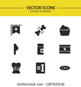 Medicine icons set with first aid kit, record in traumatology and prohibited tablets elements. Set of medicine icons and fracture concept. Editable vector elements for logo app UI design.