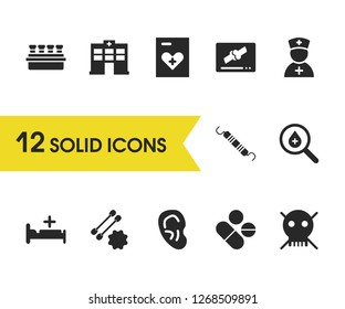 Medicine icons set with hospital bed, skull and heart record elements. Set of medicine icons and swab concept. Editable vector elements for logo app UI design.