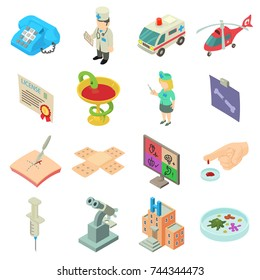 Medicine icons set. Isometric illustration of 16 medicine vector icons for web