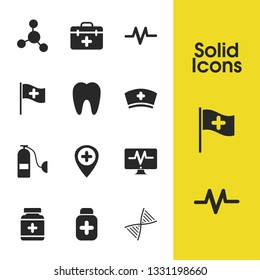 Medicine icons set with pill bottle, medical case and tooth hearts elements. Set of medicine icons and air cylinder concept. Editable vector elements for logo app UI design.