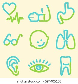 Medicine icons set, signs for infographics, web, presentation