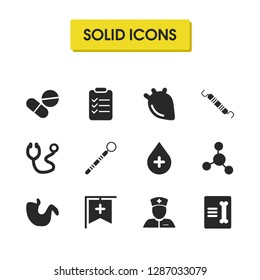 Medicine icons set with sludge, record in traumatology and drug elements. Set of medicine icons and pills concept. Editable vector elements for logo app UI design.