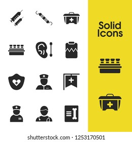 Medicine icons set with syringes, record in traumatology and heart protection elements. Set of medicine icons and woman doctor concept. Editable vector elements for logo app UI design.