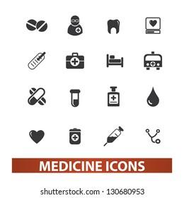 medicine icons set, vector