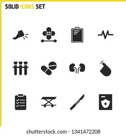 Medicine icons set with wheelchair, medical marks and bypass sheet elements. Set of medicine icons and lab concept. Editable vector elements for logo app UI design.
