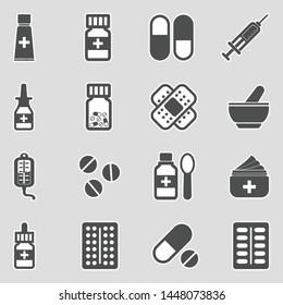 Medicine Icons. Sticker Design. Vector Illustration.