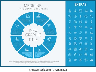 Medicine infographic template, elements and icons. Infograph includes customizable circular diagram, line icon set with medical stethoscope, disable person, hospital doctor, nurse, first aid kit etc.