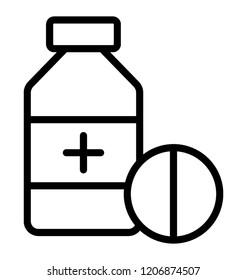 A medicine jar with plus sign over it