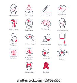 Medicine Kinds. Vector Illustration Collection icons set