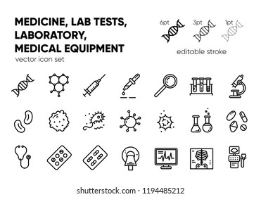 Medicine, laboratory, lab tests & healthcare, medical equipment, tools, vector outline icons. Medical science, microbiology, virology study, immune system and genetics analysis. Editable stroke.