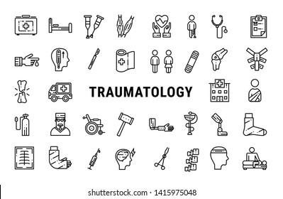 Medicine line icon set of traumatology. Vector illustration.