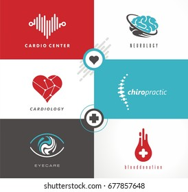 Medicine logo design ideas. Cardiology, neurology, eye care, blood donation and chiropractic symbols and icons set.