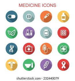 medicine long shadow icons, flat vector symbols