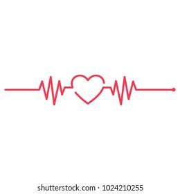Medicine Modern flat Cardiogram Hearts Icons Vector