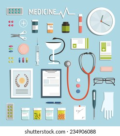 Medicine Objects and Medicament Collection. Medicine icons flat style illustration collection. Vector EPS10.