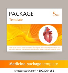 Medicine package template design with realistic human organ heart.