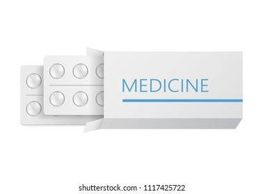 Medicine packaging drugs in silver blister with painkiller or antibiotic pills. Pack of capsules for medical treatment. Aspirin or vitamins in tablets