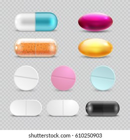 Medicine painkiller pills, pharmaceutical antibiotics drugs vector. Set of color pills, illustration of antibiotic and vitamin pill