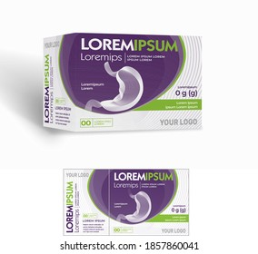 Medicine paper packaging box, stomach ache, stomach remedy medicine, 3D mockup isolated on a white background. Modern packaging design