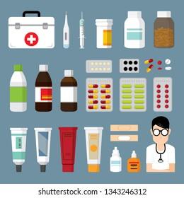 medicine phamacy drug vector illustration