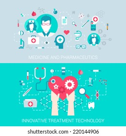 Medicine pharmaceutics modern technology treatment concept flat icons set of  process collage and vector web banners illustration print materials website click infographics elements collection