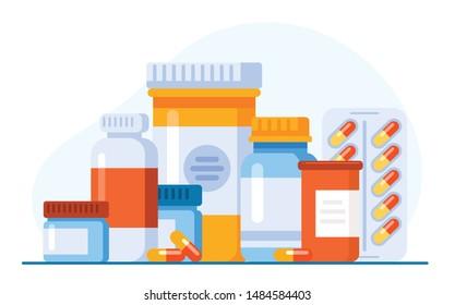 Medicine, pharmacy concept. Drug, medication set of icons. Vector illustration. Website landing page graphic